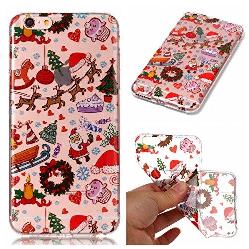 iPhone 6 / iPhone 6s 4.7 inch Hülle, CaseFirst Weihnachten Serie Ultra dünn Anstrich Fall Transparent Weiches TPU Weihnachten Schutz Handy-Tasche Hülle (Branch Elk) Christmas Playground