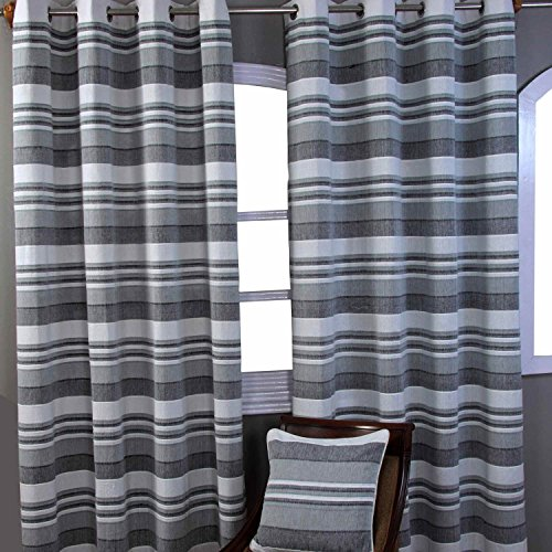 Homescapes Grey Black White Eyelet Curtain Pair 167cm (66″) Wide x 228cm (90″) Drop Morocco Stripe Design Ready Made Ring Top Curtain Pair