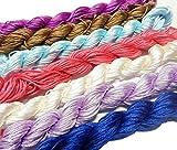 Perlin 300 Meter Makramee Garn 1mm 10 Farben Set Schmuckschnur Schmuckfaden für DIY Kette Armband Basteln