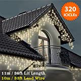 ICICLE Lights 320 LED Warm White Indoor & Outdoor Snowing Christmas Lights Fairy Lights 11m / 36 ft with 10m / 33 ft Lead Wire- Multi-Action - Clear Cable