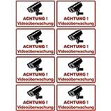 """8 Stück Aufkleber """"Achtung Videoüberwachung"""" 100x65 mm, selbstklebend, kratz und Wetterfest"""
