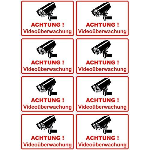 """8 Stück Aufkleber \""""Achtung Videoüberwachung\"""" 100x65 mm, selbstklebend, kratz und Wetterfest"""