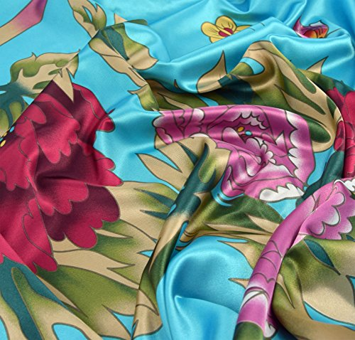 Robe d'intérieur kimono femme - robe de chambre style boubou satiné Turquoise