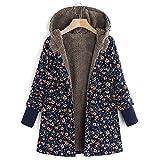 Cinnamou Mode Femmes Hiver Chaud Outwear Imprimé Floral Pochettes À Capuche Vintage Manteaux Oversize Manteau Chaud Jacket Sweat-Shirts Tops