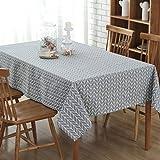 GWELL Leinen Tischdecke Eckig Abwaschbar Tischtuch Pflegeleicht Schmutzabweisend 7 Farbe & 10 Größe wählbar graue Streifen 120*160cm