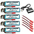 HOBBYTIGER 5PCS 3.7V 600mAh Batteries for UDI U818A U818A-1 U818A HD U818A HD+ Upgrade + 5-in-1 Charger