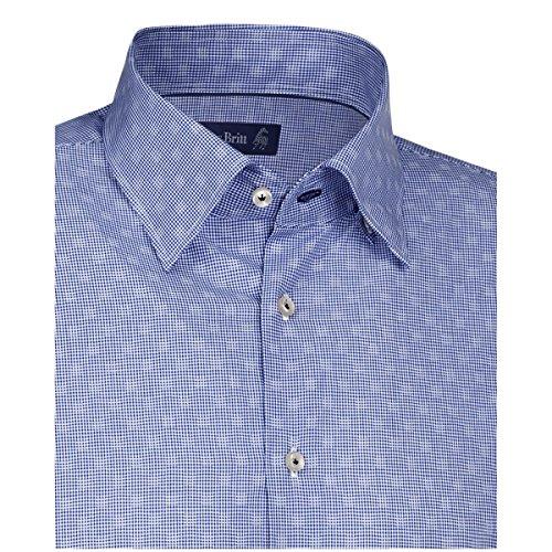 JACQUES BRITT Herren Hemd Slim fit Blue Label 1/1-Arm Bügelleicht Karo City-Hemd Manschette weitenverstellbar blau (0017)