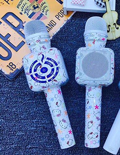 ccloon Hello Kitty Kondensator Wireless Bluetooth Mikrofon mit Geräuschunterdrückung Echo Effekt PDA Handy Karaoke Player integrierter Lautsprecher Mikrofon Maschine für Home BARM (Bluetooth Kitty Hello)
