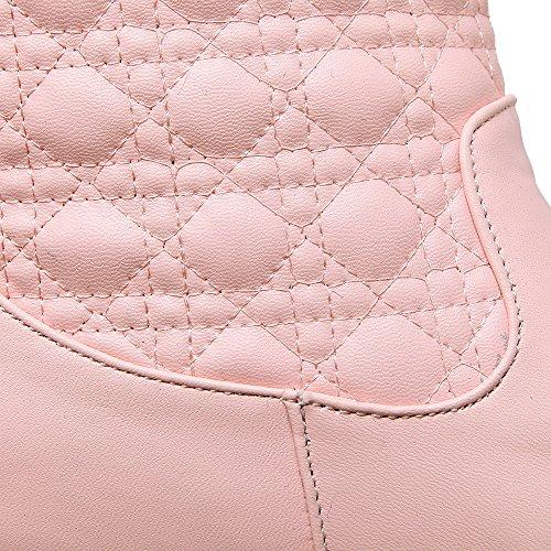 VogueZone009 Donna Tirare Tacco Medio Puro Bassa Altezza Stivali Rosa