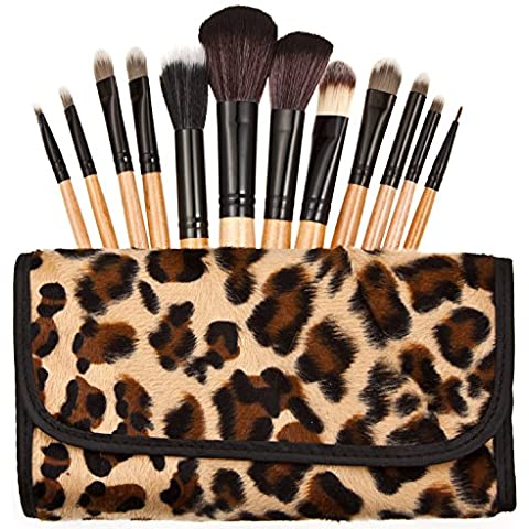 Tmalltide Professional Kit with Essential Face and Eye Makeup Brushes Kabuki Eyeshadow Powder Foundation Blush Synthetic Leopard Bag Beauty Brushes wooden Handle12PCS by Tmalltide