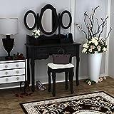 Anaelle Panana Coiffeuse Meuble en MDF avec Tabouret, 7 Tiroirs et 3 Miroirs Ovale pour Chambre, Taille: 89 * 39 * 143cm, Poids: 21kg, Noir
