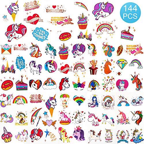 SAVITA Unicornio tatuajes temporales 136 Estilos de purpurina para suministros de fiesta de unicornio Bolsas de regalo para fiestas, decoración de fiestas y sorpresas de cumpleaños