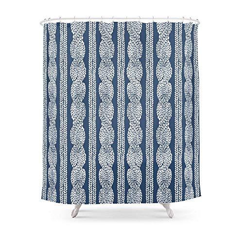 Suminla-Home Badezimmer Kabel Knit Navy Vorhang für die Dusche 182,9cm von 182,9cm - Dusche Liner-navy Vorhang Blau
