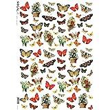 Papel de arroz decoupage: Flores y Mariposas - cm.32x45