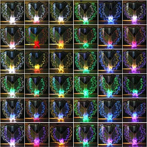 KT Mall Bauchtanz-LED Isis Flügel, Glow Light Up Kostüme Mit Stöcken Bunte Bauchtanz-Flügel Performance-Bekleidung (Light Up Bekleidung)