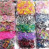 Lagiwa - 3000 élastiques - Lot de 15 sachets de recharge assortis de 200 élastiques chacun (15 modèles différents) pour bracelet ou collier loom bands + 1 sachets de 12 charms offert