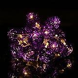 Happyit 3M 20pcs Led Rattankugel Lichterkette String Lights für Neujahr Weihnachts Dekoration Hochzeit Party Home Dekoration Lichter (Lila)