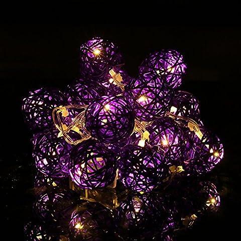 Happyit 3M 20pcs Boule Led Rotin chaîne lumières Lampes à cordes pour Nouvel An Noël Décorations Fête de mariage Feuilles de décoration intérieure (Violet)