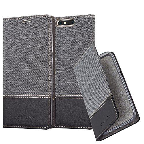 Cadorabo Hülle für ZTE Blade V8 - Hülle in GRAU SCHWARZ – Handyhülle mit Standfunktion und Kartenfach im Stoff Design - Case Cover Schutzhülle Etui Tasche Book