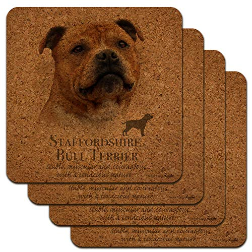 Untersetzer aus Kork, Motiv Staffordshire Bull Terrier