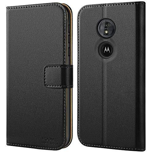 HOOMIL Handyhülle für Motorola Moto G6 Play Hülle, Premium Leder Flip Schutzhülle für Motorola Moto G6 Play Tasche, Schwarz