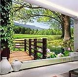 Ponana Fond D'Écran Personnalisé 3D Mur De Briques Maison Route Tv Fond Mur Salon Chambre Fond 3D Fond D'Écran C-450X300Cm