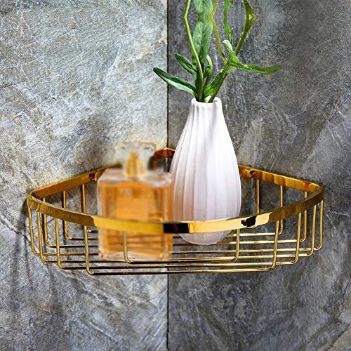 JIANGJIE goldenen Bad Ecke Badewanne und Dusche Caddy Korb Dreieckige Alle Messing Wandhalterung, Gold Finish Hardware zubehör -