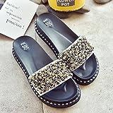 CWJDTXD Pantofole estive Pantofole con strass Diamanti estivi da donna Girocolli spessi e leggeri Scarpe pigri con una gamba indossano un tipo di sandali, 36, argento