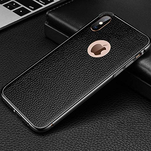 Leder-Metallrahmen Handyhülle für iPhone X XR XS MAX Schutzhülle iPhone 7/8 Plus Hülle Apple iPhone 7/8 Anti-Scratch Shock Absorption Handyhülle für iPhone, iPhone X, schwarz