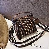 XMY Kleine Tasche weibliche Wilde Messenger Bag breiter Schultergurt Schulter Vintage Karierte...