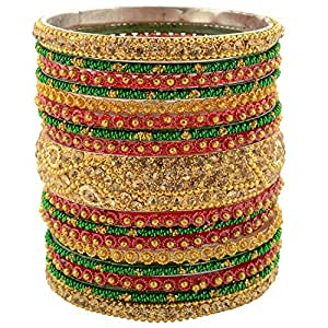 Charminar Chudi Bazaar Gold Glass Bangle Set for Women - A11