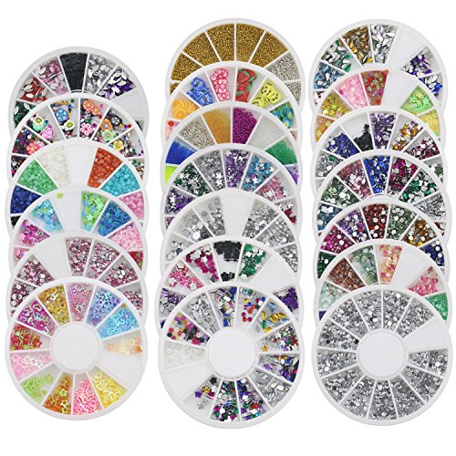 Bluelans® 20x 3D Glitters Blume Nagelsticker Schleife Strass Nagel Art Sticker Dekoration