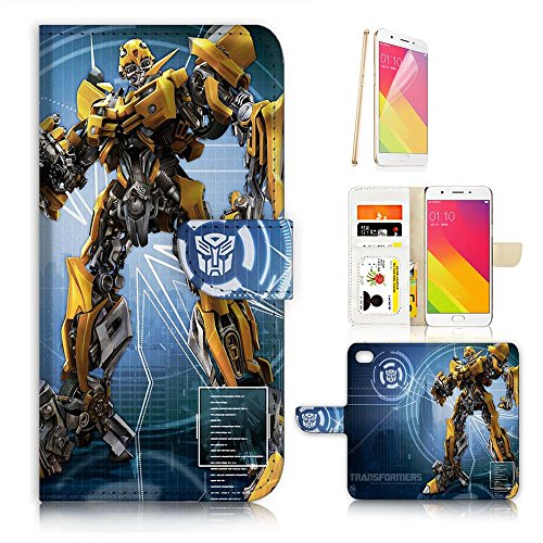 ( For Oppo R11 ) Flip Wallet Case Cover & Screen Protector Bundle - A21295 Transformers Bumblebee