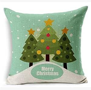 Merry Christmas 3alberi di Natale regalo di Natale cotone lino decorativo Cuscino, federa per cuscino 45,7x 45,7cm