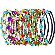12 Piezas Multicolor Diadema de Flor de Rosa Banda de Pelo Mujeres Chicas Moda Corona Floral