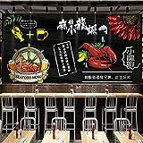 Ponana Fondo De Pantalla 3D Negro Blanco Cangrejos Cangrejos Mariscos Graffiti Mural 3D Tema Creativo Olla Caliente Barbacoa Tienda Bar Restaurante Papel TapizA-400X280Cm