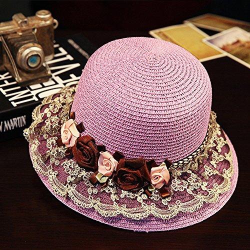 Chapeau de soleil femelle été Main dentelle chapeau chapeau de soleil chapeau de paille Sunscreen de plein air chapeau de plage Plage Cap ( Couleur : Rose ) Violet