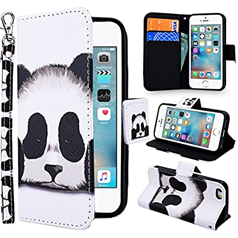 iPhone 5 Wallet Case,iPhone SE Cover,iPhone 5S Leather Case,SmartLegend Elegant Apple iPhone SE iPhone 5/5S Case Painting Pattern PU Leather Hand Wrist Strap Fashion Stand Folio Anti Shock Flip Case with Magnet Closure and Card Slots Holster Mobile Phone Protective Case -Panda