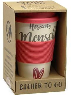 graue Manschette jakopabra Kaffeebecher to go Herzensmensch aus Bambus mit Silikondeckel//Mehrwegbecher