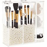 PuTwo Boîte de Rangement Organisateur Maquillage Avec 3 Tiroirs pour Pinceaux et Bijoux Transparent en Acrylique avec des Per
