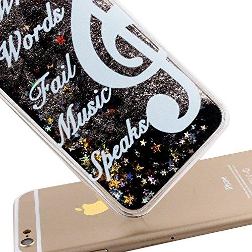 Flüssigkeit Glitzer Hülle für iPhone SE,Transparent Hülle für iPhone SE,iPhone 5S Clear Hard Case Hülle Klare Plastic Gel Schutzhülle Durchsichtig Rückschale Etui für iPhone 5,iPhone 5S Hülle Blumen C S U Black Liquid 12