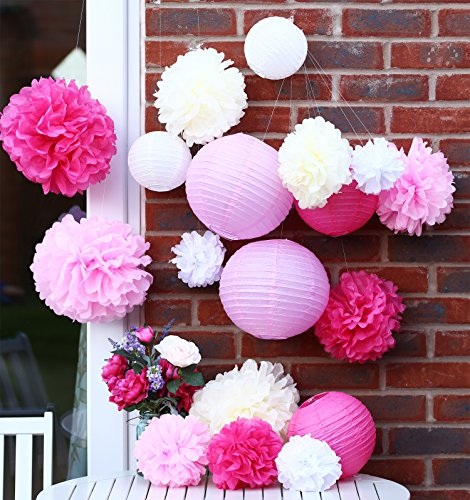 papier Pompoms Blumen und Papierlaterne Party, Geburtstag, Weihnachten Baby Duschen und Hochzeit Dekoration Kit. Schöne hängende Papierblumen Pompons. Pink, Rosa, Creme und Weiß ()