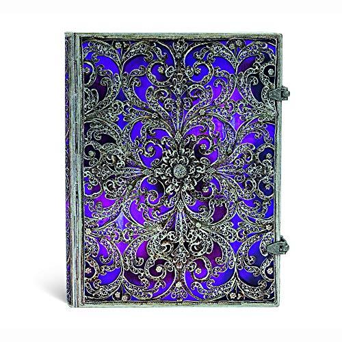 Silberfiligran Kollektion Aubergine - Notizbuch Groß Liniert - Paperblanks