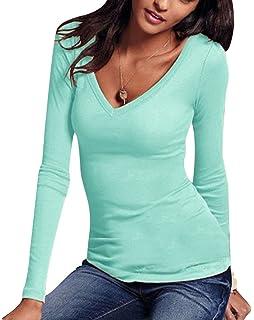 a54c7e82c0a3 T Shirt Manche Longue Femme Tee Shirt Manches Longues Col V Imprimé Chemise  Top Haut T