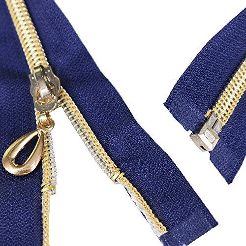EMDOMO 5pieces, 25cm, 35cm, 40cm, 50cm 60cm breit, Marineblau, Weiß, Schwarz, Gold mit Reißverschluss open-end Metall Zippers zum Nähen Reißverschlüsse. 60CM NAVY -