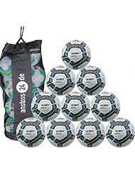 10 x Uhlsport INFINITY MOVIMIENTO 2.0 - Premium Balón de entrenamiento Incl. Saco para bolas - blanco/royal/negro, 5