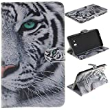 Skytar Hülle für Samsung Tab A 7.0 - PU Leder Schutzhülle Flip Cover Case für Samsung Galaxy Tab A 7.0 Zoll T280N / T285N Tablet (2016 Version) Brieftasche Etui mit Support-Funktion,Weißer tiger