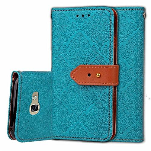 YHUISEN Galaxy J7 Prime Case, Magnetische Verschluss Europäische Art Wandgemälde prägeartig PU Leder Flip Wallet Fall mit Stand und Card Slot für Samsung Galaxy J7 Prime / On7 2016 ( Color : Khaki ) Blue