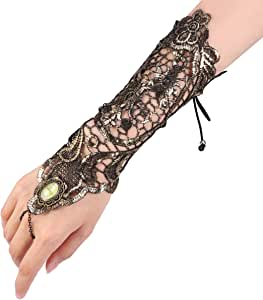 Fenical Classic Retro Style Long Lace Gloves, Resistant Steampunk Goth Skate Style Gloves for Parties, Costumes (Golden)