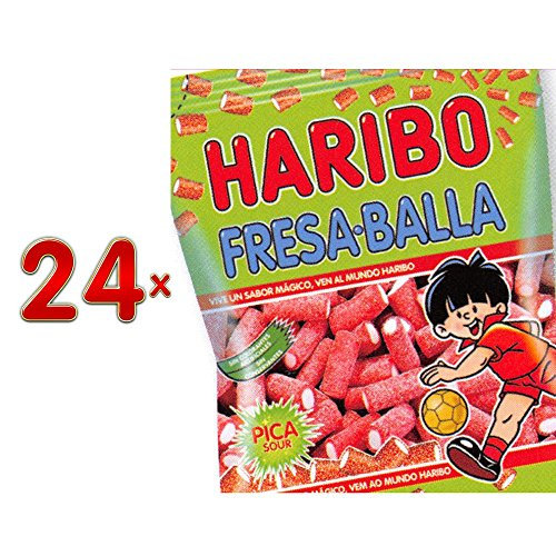 Haribo Fresa-Balla Pica Sachet 24 x 80g Packung (saure Fruchtgummi mit Erdbeergeschmack)
